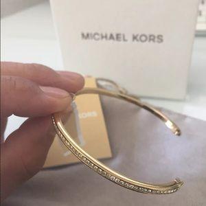 MK Pave Goldtone Bangle Bracelet Mkj6343710